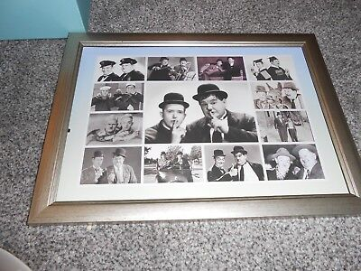 laurel and hardy A4 collage  framed picture