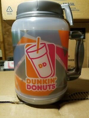 Dunkin Donuts 64 oz.Travel Mug, Gray/Clear With Design, Hot/Cold