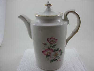 Vintage Wild Briar Rose Ceramic White & Pink Coffee Pot By The House of Webster