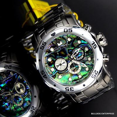 Invicta Pro Diver Scuba Abalone Stainless Steel Chronograph 48mm Watch New