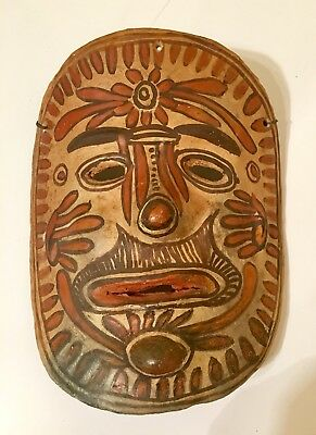 Vintage Mexican/southwest Red Clay Terra Cotta Mask, Hand Painted, Wall Hanging