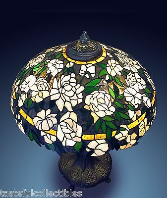 "Tiffany Inspired Stained Glass Lamp Shade 24"" Gardenia Original by  Mary Harris"