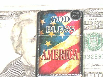 New ZIPPO Windproof Flame Lighter 207 God Bless America on USA Flag St Chrome Cs