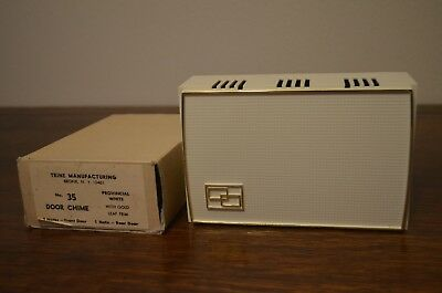 Vintage New In Box Door Chime/Bell by Trine MCM Modern Gold & Provincial White