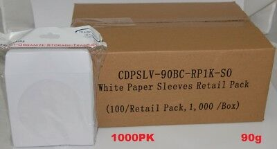 1000 pcs White CD DVD Paper Sleeves Envelopes with Flap and Clear Window 90g