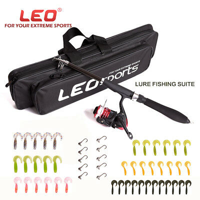 Fishing Spinning Rod Combos Telescopic Rod Reel Set Kit Lure Tackle with Bag