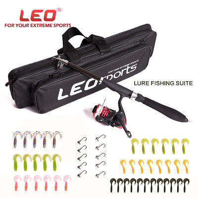 Fishing  Telescopic Spinning Rod Reel Combos 42 Lure 10 Hook Set Kit Storage Bag