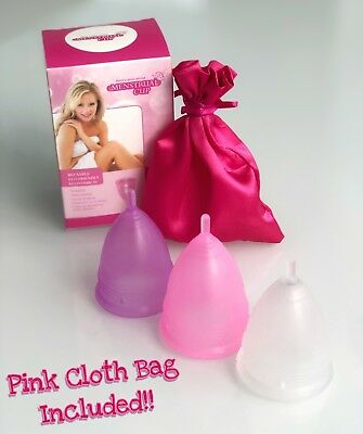 Reusable menstrual cup, soft silicone, leakproof, 3 colors S/L size