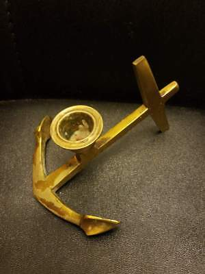 VINTAGE SOLID BRASS NAUTICAL ANCHOR CANDLE HOLDER CANDLESTICK 5.5x4.5x3.5""