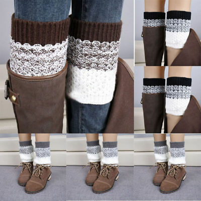 Women Winter Warm Crochet Knit Leg Warmers Slouch Hosiery Ankle Boot Socks Lady