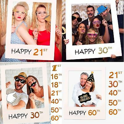 1/16/18/21/30/40/50/60th 2019 Frame Photo Booth Props Happy Birthday Paper Party