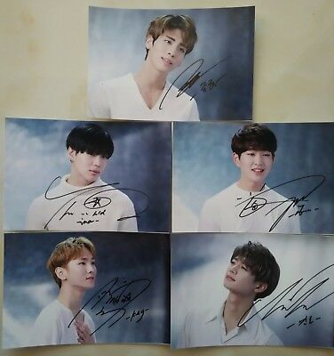 Signed SHINee JongHyun Taemin KEY all5member Hand Autograph Photo SET