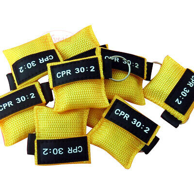 CPR Face Mask Keychain CPR Face Shield Frist Aid 30:2 CPR Training AED Yellow