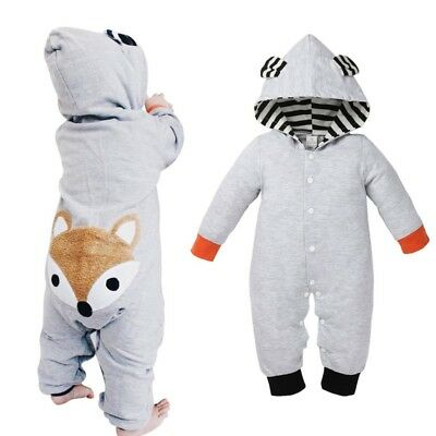 US Infant Baby Kids Boy Girls Winter Warm Romper Jumpsuit Hooded Outfit Clothes