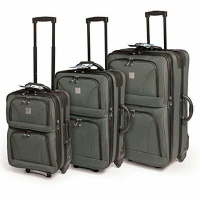 3pc Cambridge Luggage Suitcase Trolley Set Travel Carry On Bag Lightweight
