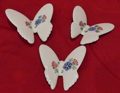 3 Vintage Ceramic Butterflies Home Interiors HOMCO 1398-BL Hand Painted USA