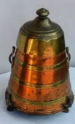 ANTIQUE brass and copper fireplace ash can