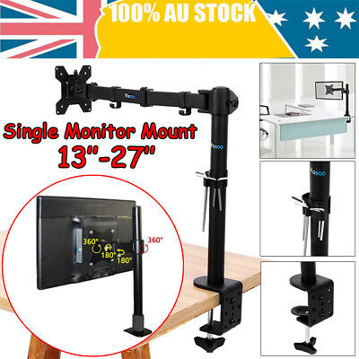 "13''-27"" Single Arm Monitor LED LCD Screen VESA Display Bracket Stand Desk Mount"