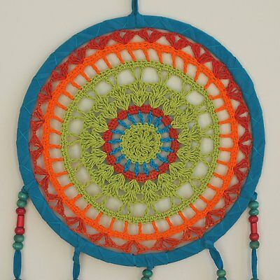 Colorful Dream Catcher by Bohemian Merchant Large Handmade Crochet Knit Lace Doi