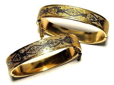 Pair Antique Victorian Yellow Gold Fill Fancy Engraved Bangle Bracelets~6.5Wrist