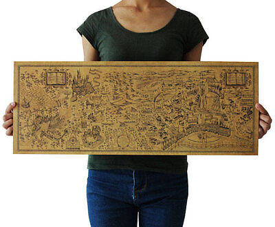 71cmx26cm Map of Harry Potter Retro Poster - The Wizarding World of Harry Potter