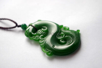 Exquisite Chinese natural green jade hand carved dragon jade pendant S
