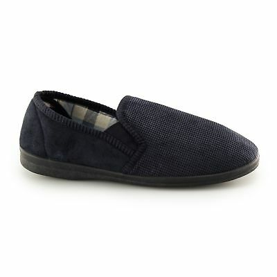 Sleepers HARRY Mens Textile Double Elasticated Gusset Comfy Full Slippers Navy