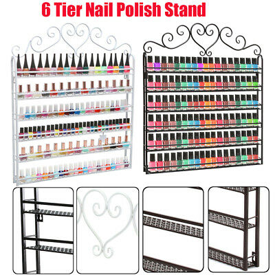 New 6 Tier Metal Wall Mounted Nail Polish Rack Organizer Display Holder Shelf