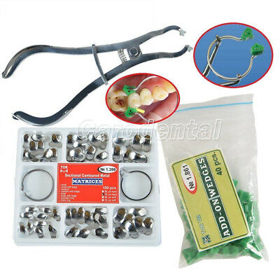 Dental Sectional Contoured Matrices Matrix Ring Delta + Add-On Wedges + Plier