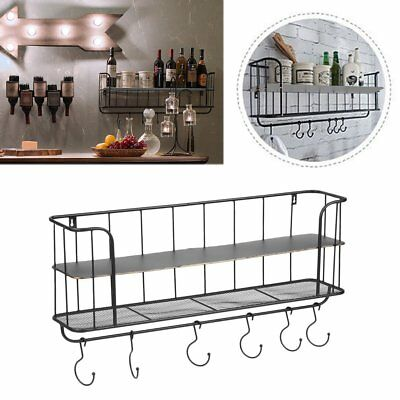 2 Tiers Wall Mount Coat Hooks Unit Rack bedroom Key Holder Organizer Metal