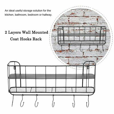 Vintage Industrial Style Metal Wall Mounted Coat Hooks Rack  With 6 hooks
