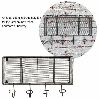 Industrial Style Metal Wall Mounted Unit Rack Coat Hooks Storage Basket 4 Grid