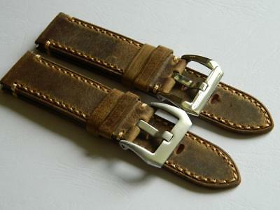 22mm Handmade Watch Strap Genuine Leather Tanned Vintage Durable Stitching