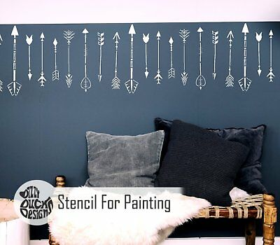 INDIAN ARROW BORDER Native American Tribal Nordic Wall Stencil for Paint