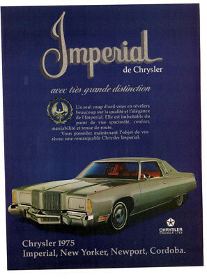 1975 CHRYSLER Imperial Vintage Original Print AD Silver car photo french canada