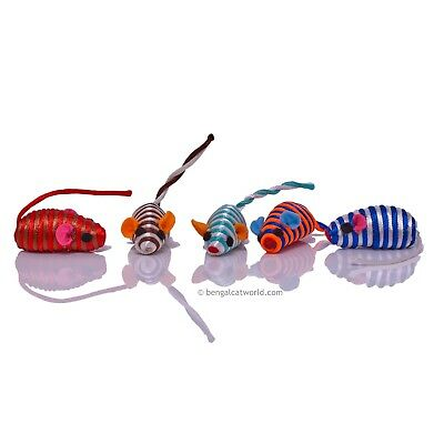 Mini Mouse Cat Kitten Toy Colourful String Tail Play Fun Exercise PACK OF 5 MICE