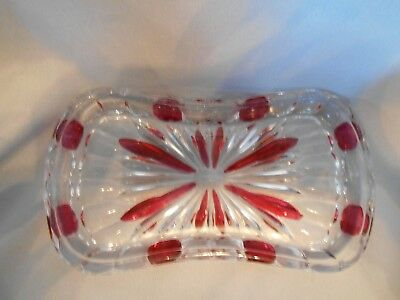 Unusual Collectible Ruby Red Stained Pattern Glass Leaded Crystal Butter Dish