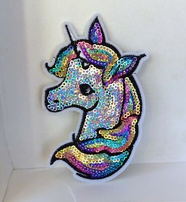 Bright Rainbow Unicorn Sparkly Sequin Embroidered Appliqué Patch Sew Or Iron #3