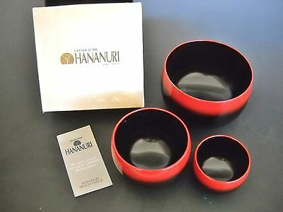 Japanese Lacquer Bowls by HANANURI Urashi-Ware Set of 3 Matching Black with Box