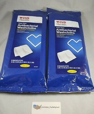 (2)CVS Health Triple-Thick Antibacterial Washcloths, 16 Ct Total