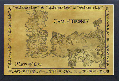 GAME OF THRONES ANTIQUE MAP 13x19 FRAMED GELCOAT POSTER JON SNOW HBO TV TYRION!!