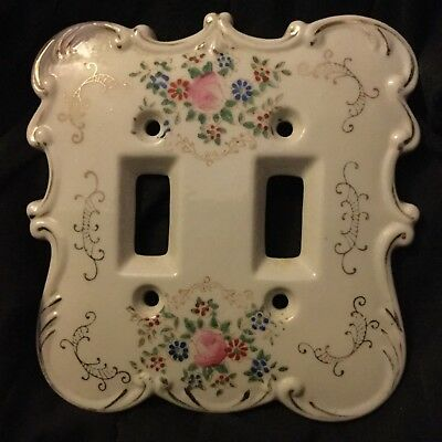 Vintage PINK ROSES Porcelain Double Light Switch Plate-Made in JAPAN-Very Good