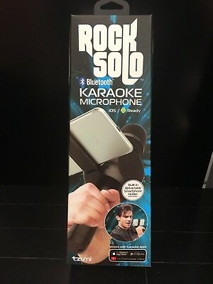 Tzumi Rock Solo Karaoke Mic Speaker Bluetooth Built-in Smartphone Holder BLACK