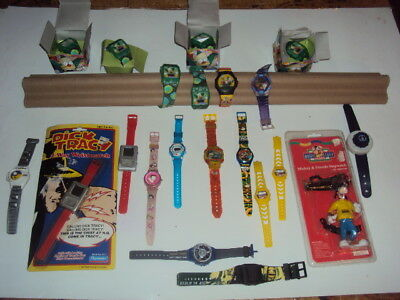 toy watch lot 21 pc star wars star trek simpsons rug rats watches used some not