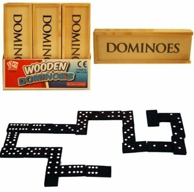 Set of 28 Black Wooden Dominoes In Wooden Box Fun Game With Rules