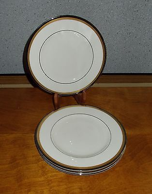 Syracuse Grace Salad Plates Lot of 4 Fine China Gold Platinum Excellent!