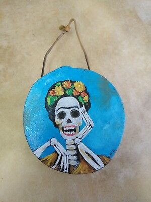 """Rawhide drums,Hand painted mini 4""""drum, catrina ,Souvenirs, Crafts,Gifts , #1"""