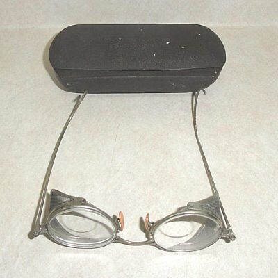 Pair of VINTAGE PRESCRIPTION SAFETY GLASSES with METAL CASE