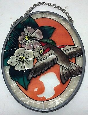 Oval stained glass suncatcher humming bird on flower design with chain