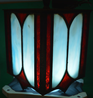 Antique Old Stained Glass Hanging Porch Light Ruby Red & Blue Art Deco Stunning!
